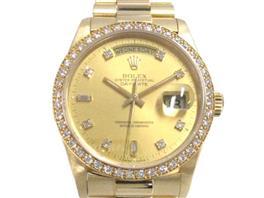 ROLEX(ロレックス デイデイト 10Pダイヤ ベゼルダイヤ ウォッチ 腕時計
