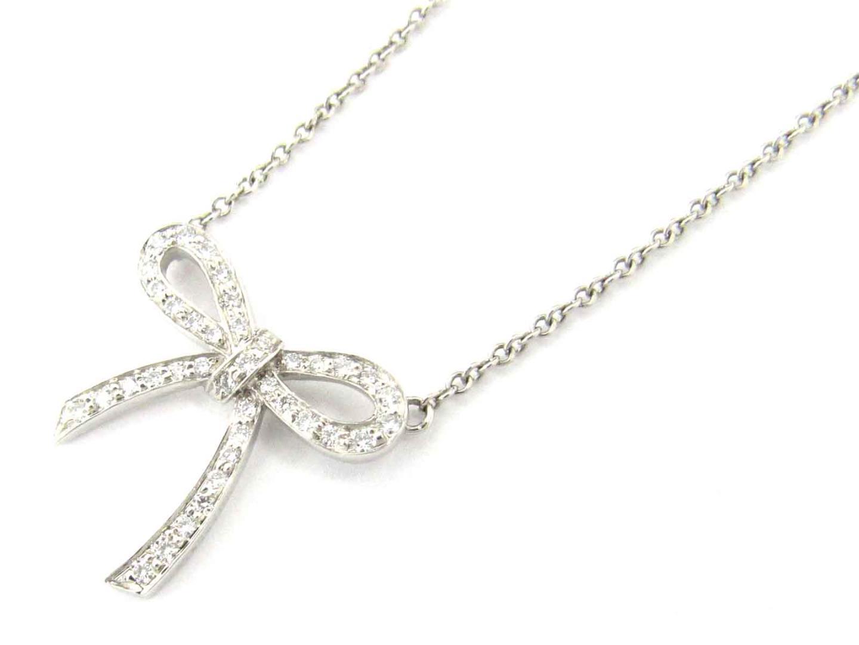 【おすすめ!】ボウミニ ダイヤモンド ネックレス/可愛い/おしゃれ/お買得/プレゼント