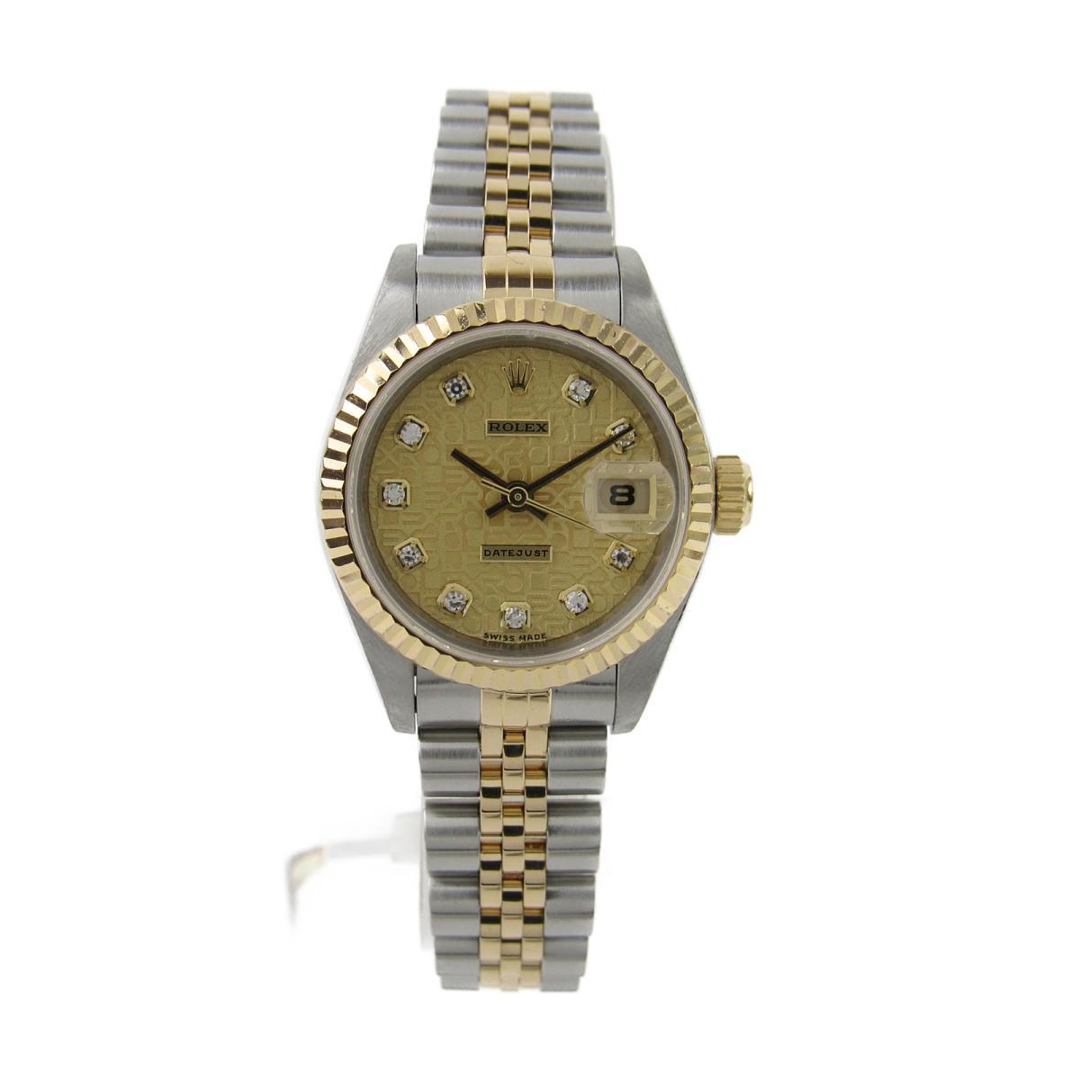 ROLEX 時計 69173G W番 デイトジャスト 10Pダイヤ /腕時計/レディース