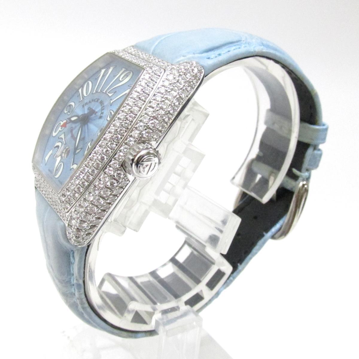 FRANCK MULLER 時計 8002LSCD コンキスタドール ダイヤモンド ベゼル 時計/レディース