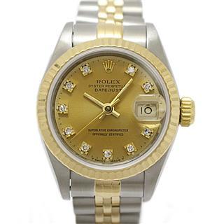 ロレックス (ROLEX) デイトジャスト 10Pダイヤモンド レディースウォッチ 腕時計 69173G