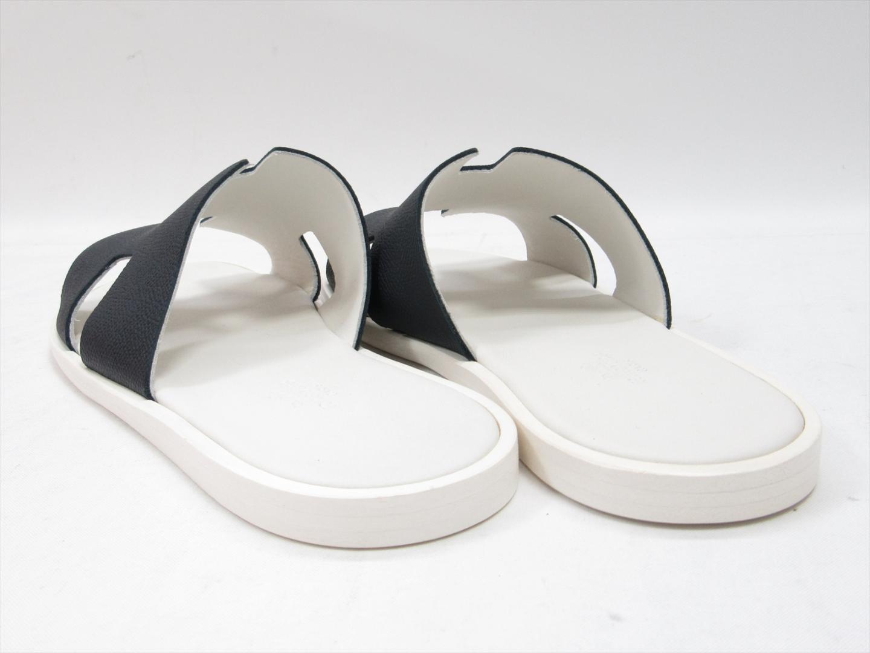 9e00a9c8714 HERMES Men Navy White Leather Izmir Oran Sandals Slides Shoes Flip ...