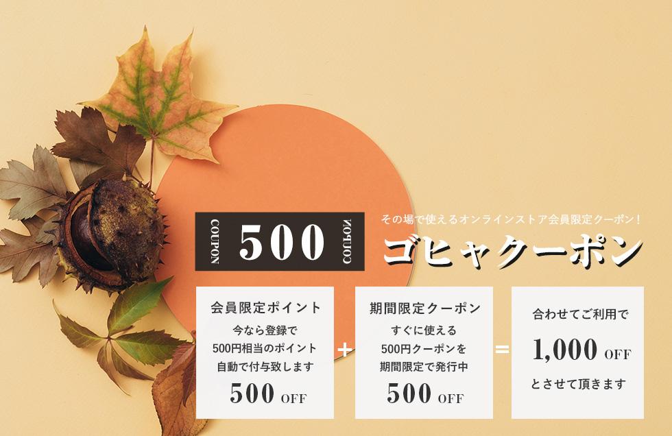 お得な「ゴヒャクーポン」配布中 2020年11月20日まで 会員登録で500、クーポン利用で500 合わせて1000円OFFキャンペーン!!